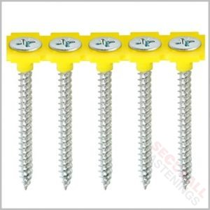 3.5 x 32mm Collated Fine Drywall Screws strip yellow