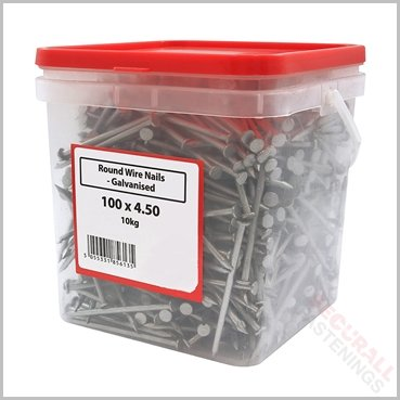 100mm Round Wire Nails Tubs 10kg Galvanised